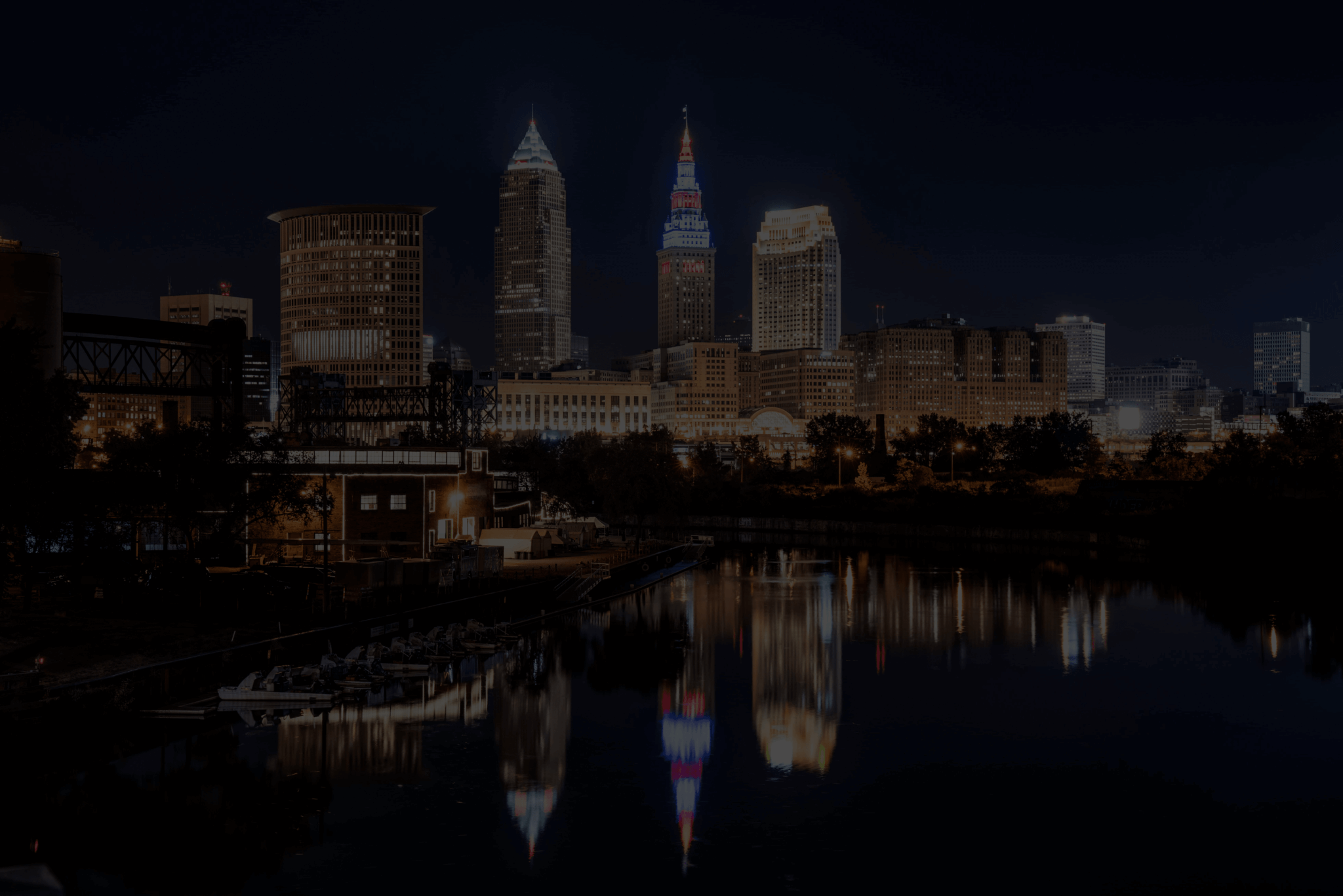 Cleveland Night Skyline Social Media