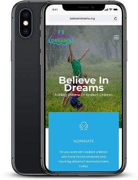 Believe In Dreams Website Mockup
